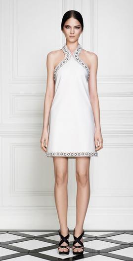Weißes Abendkleid kurz mit Verzierungen