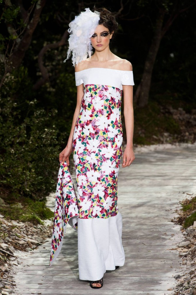 Chanel Kleid lang Blumenprint