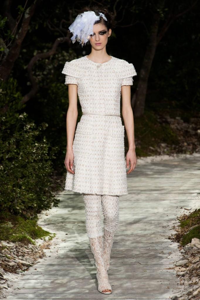 Kurrzes Kleid weiß-silber, Chanel 2013