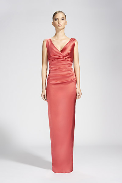 Talbot Runhof Abendkleid rosa mit Stoffraffungen