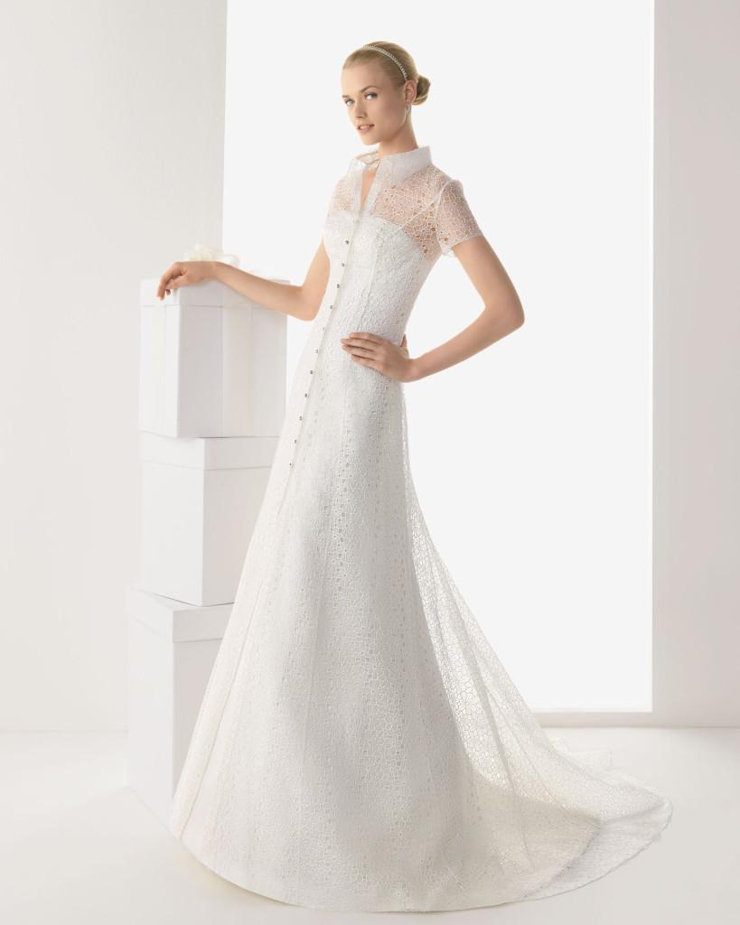 Schlichtes Brautkleid weiß, Rosa Clara