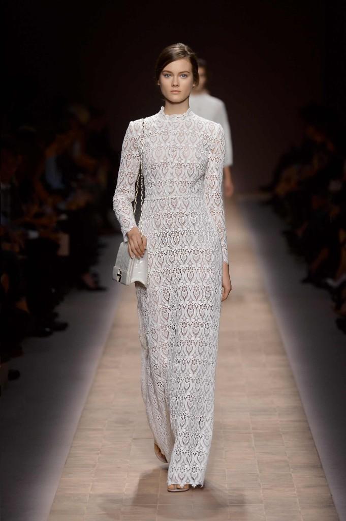 Brautkleid weiß, schlicht, Spitze- Valentino
