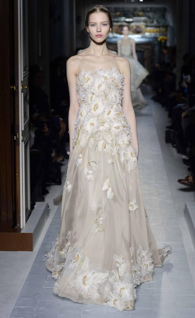 Bustier Brautkleid weiß-gold, Valentino
