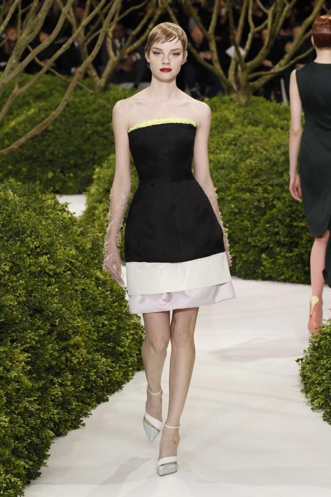 Bustier Cocktailkleid Off-white, schwarz, blasslila, Dior