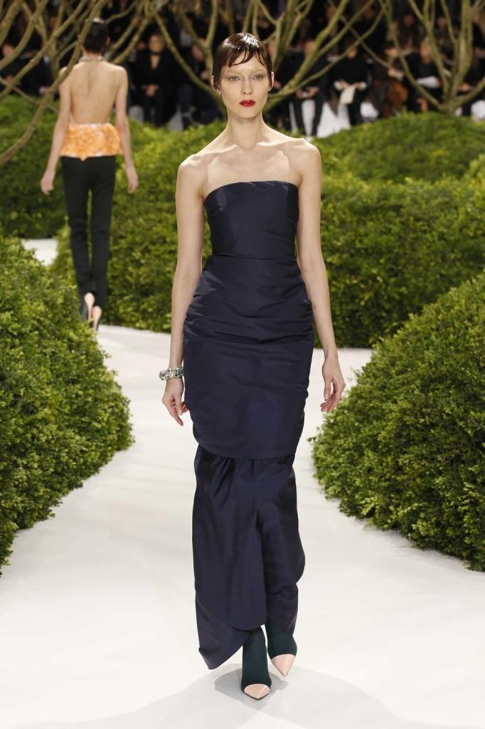 Mitternachtsblaues Bustier Abendkleid lang, Dior