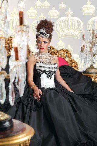 Designer Glööckler Abendkleid weiß-schwarz