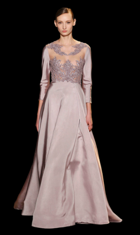 ELIE SAAB Abendkleid, Haute Couture. Langarm mit Spitzenoberteil in ...