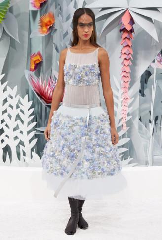 Haute Couture Karl Lagerfeld - Cocktailkleid in Hellblau-Weiß