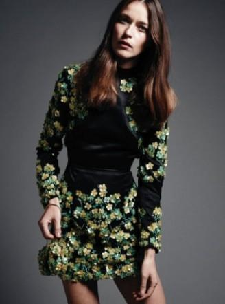 Meissen Couture langarm Abendkleid