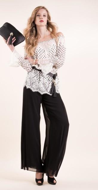 Luisa Spagnoli - weite schwarze Hose, Bluse