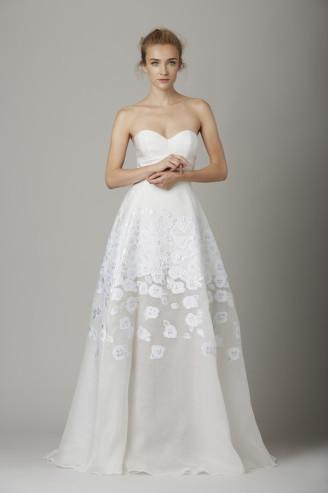 Promi Brautkleider-Lela Rose-Blumen Kleider weiß  Abendkleider4You