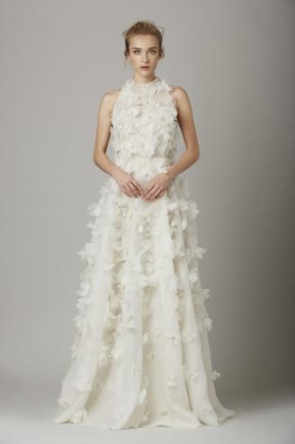Lela Rose Promi Brautkleider - Hochzeitskleid in Weiß mit Blüten übersät