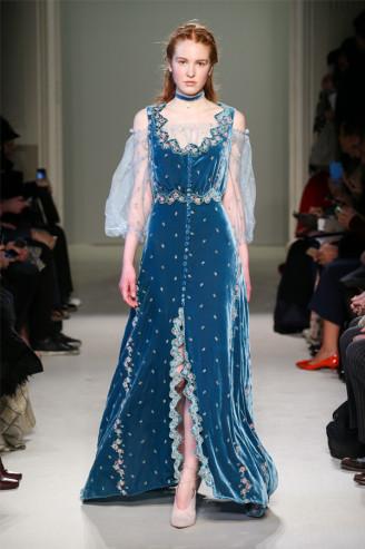 Luisa Beccaria Abendkleid blau in Samt