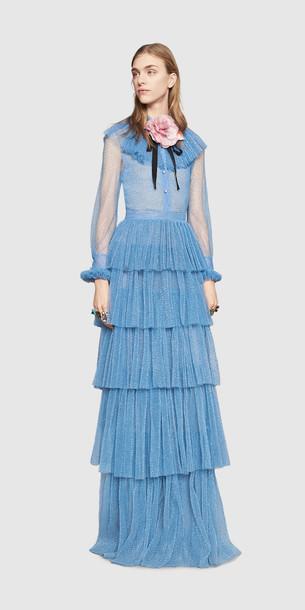 Hellblaues Ballkleid, Abendkleid langarm GUCCI Ballkleider 2016