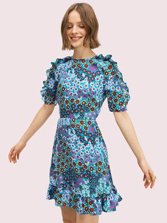 Kate Spade, kurzes Kleid mit gesmoktem Rücken und Volants